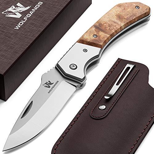 Wolfgangs MUTATIO Zweihand Klappmesser aus feinstem 440C Stahl - Outdoor Messer mit hochwertigem Wurzelholz...