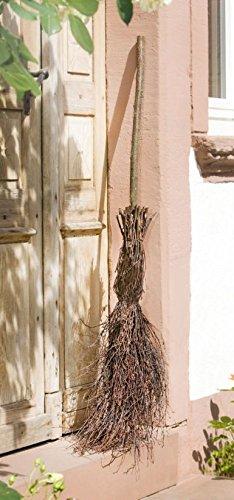 Deko-Besen aus Birkenreisig, 125 cm hoch, Hexenbesen, Reisigbesen