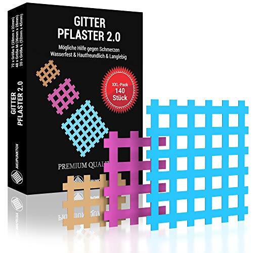 AKUPUNKTOX© Premium Gittertape - Verbessertes Konzept 2021 I Innovative Cross Pflaster I Akupunktur-Pflaster...
