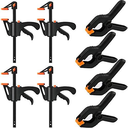 8 Stück F-Klemmen Clips Set, Einhandzwinge Schnellspannzwinge Klemmzwinge Hochleistungs, Quick Grip Klemmen...