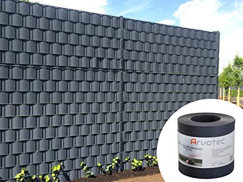 Sichtschutz anthrazit, 25 Meter - zur Anbringung an Doppelstabmatten - Lärm-, Sicht- & Windschutz - einfache...