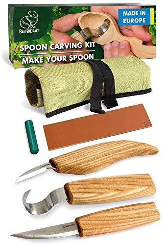 BeaverCraft S13 Holzschnitzerei Werkzeuge Set für Löffel mit grüne Polierpaste Hakenmesser Schnitzmesser...