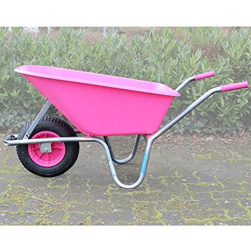 TRUTZHOLM Schubkarre rosa/pink PP 100 Liter | 250 kg Bau Karre Gartenschubkarre Bauschubkarre Schiebkarre...