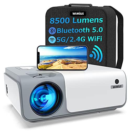 Beamer, WiMiUS 8500 Lumen Full HD 1080P Beamer 5G WiFi Bluetooth Beamer LED Heimkino Projektor Unterstützung...