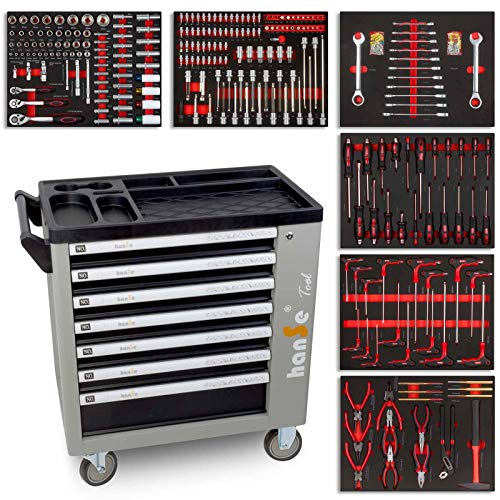 hanSe® Werkstattwagen Profi-Werkzeugwagen Montagewagen Werkzeugkiste mit sieben Schubladen mit 399 teilen...