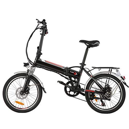 BIKFUN Faltbares Elektrofahrrad, 20 Zoll E-Bike, 36V 8Ah Lithium-Akku, 250W Motor, 7 Gang, 20 Meilen Pedelec...