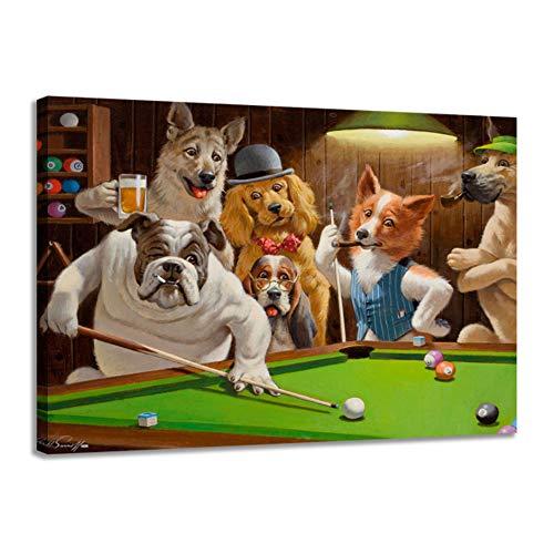 HSFFBHFBH Leinwanddruck Moderne hochauflösende Hunde Spielen Billard Malerei Kunst Home Decoration Poster auf...