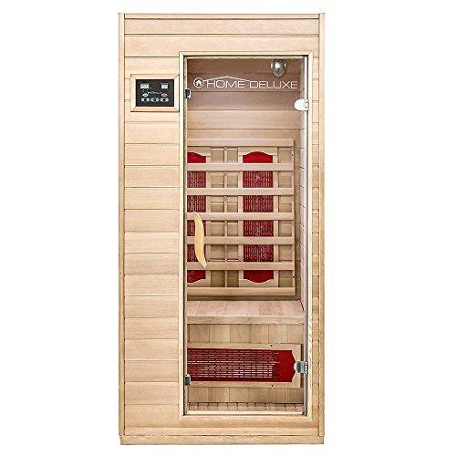 Home Deluxe – Infrarotkabine Redsun S – Keramikstrahler, Holz: Hemlocktanne, Maße: 90 x 90 x 190 cm |...