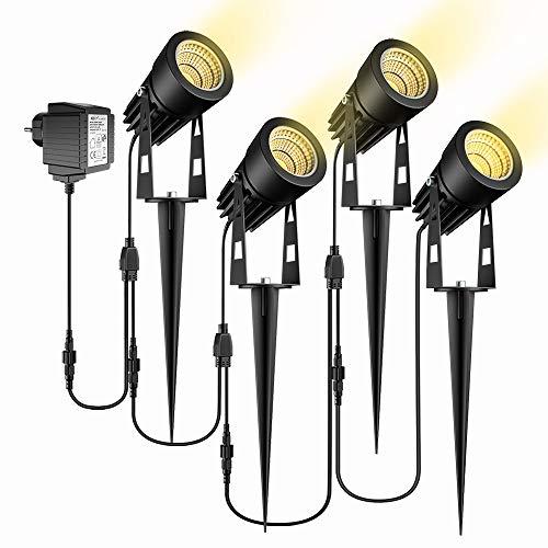Gartenbeleuchtung, ECOWHO 4er Set Gartenleuchte mit Erdspieß, IP65 Wasserdicht LED Gartenstrahler mit...