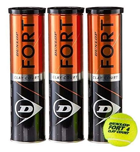 Dunlop Fort Clay Court - Tennisbälle - 12 Bälle (3 Dosen mit je 4 Bällen / 3 Tin x 4 Balls) - gelb -...
