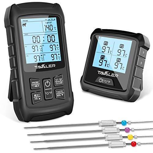 Tavaler Grillthermometer Digital 4 Edelstahl Sonden Fleischthermometer Kabellos BBQ Bratenthermometer 100M...