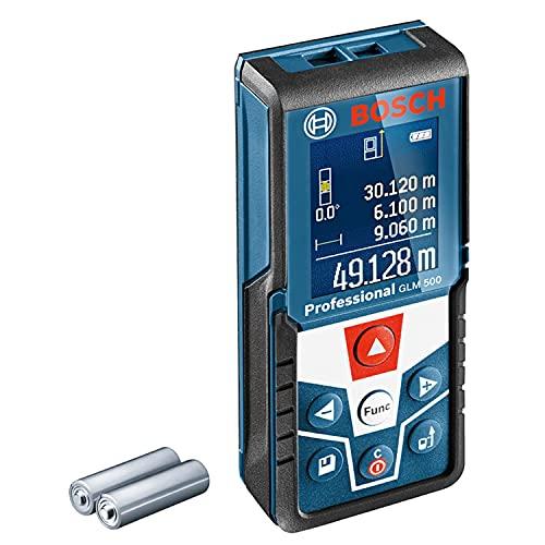 Bosch Professional Laser Entfernungsmesser GLM 500 (Arbeitsbereich: 0,05–50 m, Neigungswinkel: 0–360°,...