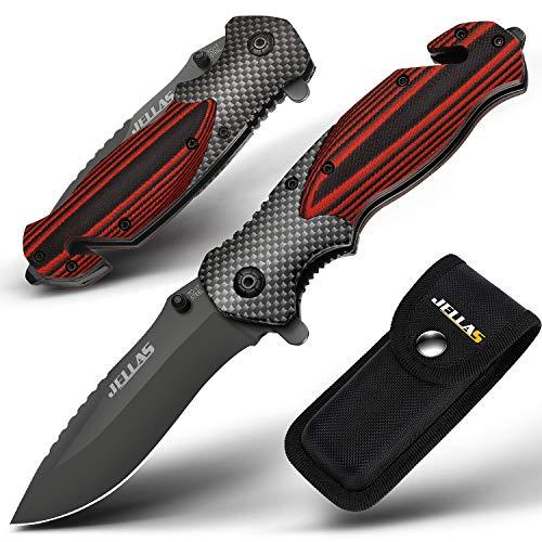 Jellas Aktualisiert 4-in-1 Klappmesser 9Cr18Mov Edelstahl Outdoor Taschenmesser mit 10cm Titaniumklinge aus,...