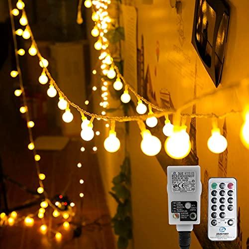 Kugel Lichterkette, WOWDSGN 200 LEDs Lichterkette 20m Dimmbar, Partylichterkette mit Stecker für Innen und...