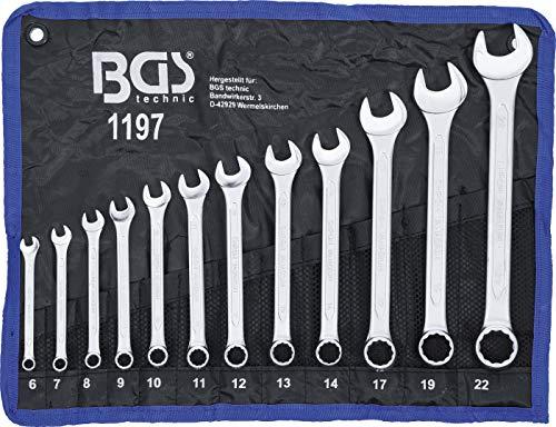 BGS 1197 | Maul-Ringschlüssel-Satz | 12-tlg. | SW 6 - 22 mm | inkl. Tetron-Rolltasche | Gabelringschlüssel