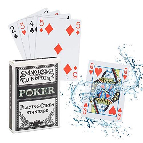 Relaxdays Pokerkarten Plastik, wasserfestes Kartenspiel, reiß- & knickfest, 54 Karten, Texas Hold'em, Profi...