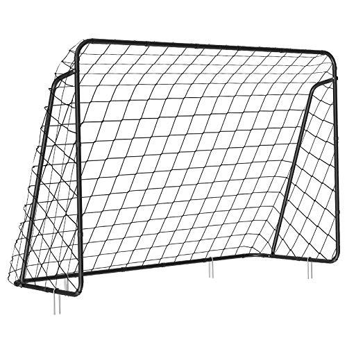 SONGMICS Fußballtor für Kinder, schnelle Montage, Garten, Park, Strand, Eisenrohre und PE-Netz, 215 x 150 x...