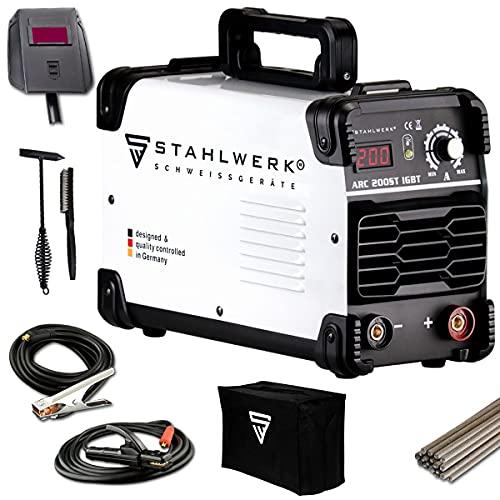 STAHLWERK ARC 200 ST IGBT - Schweißgerät DC MMA/E-Hand Welder mit echten 200 Ampere sehr kompakt, weiß, 7...