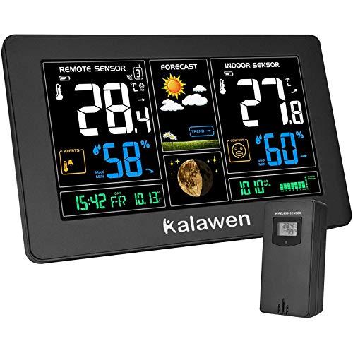 Kalawen Wetterstation mit Außensensor Innen und Außen 9-IN-1 Funk Wetterstation mit Farbdisplay Digital...