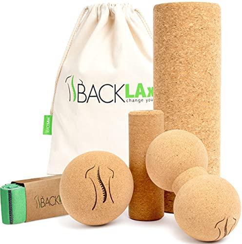 BACKLAxx® Faszienrolle Set aus Kork - Korkrolle ideal für Faszien, Rücken und Wirbelsäule - Schadstofffrei...