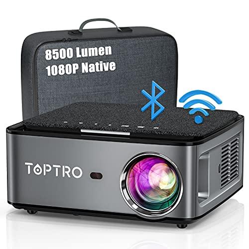 Beamer, 8500 Lumen Beamer Full HD, WiFi Bluetooth Beamer 4K Native 1080P LED Heimkino Video Projector...