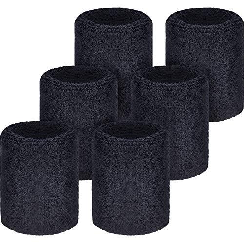 WILLBOND Schweißbänder Armbänder für Fußball Basketball Laufen Athletic Sport Schwarz 6 Stück