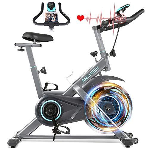 ANCHEER Heimtrainer, 49LBS Indoor Cycling Bike Fitnessbike Mit Herzfrequenzmonitor & LCD Monitor, Bequeme...