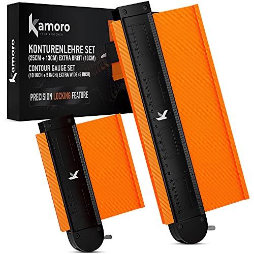 Kamoro Konturenlehre mit Sperrfunktion dank Metall-Schloss - Extra breit (13cm) [im 2er Set] - Profillehre mit...