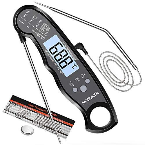 NIXIUKOL Digital Fleischthermometer Grillthermometer 2-in-1 Bratenthermometer mit 2 Edelstahlsonden,...
