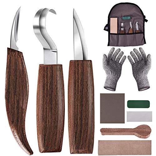 Holz-Schnitzwerkzeug Set, 10 in 1 Holzschnitzset mit Schnitzhaken Messer, Holzschnitzmesser, Schnitzmesser,...