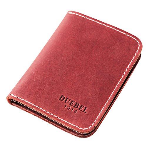 DUEBEL Herren Vollkorn Leder Bifold Reise Brieftaschen/Halter/Case/Protector, Rot