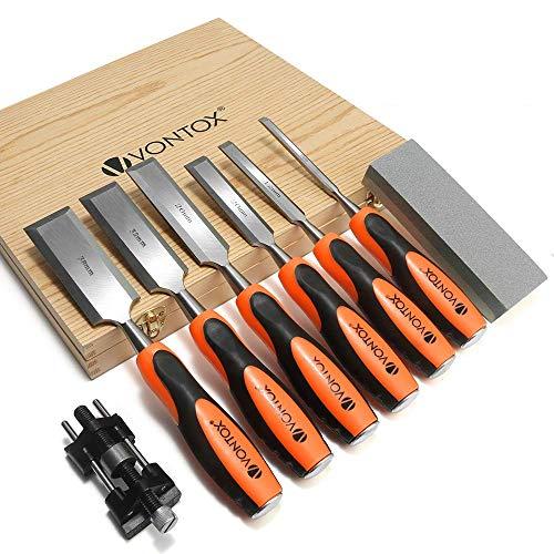 V VONTOX Stechbeitel 6 teilig, mit Schleifführung & Schleifstein, Holzmeißel Set für Holzschnitzerei,...