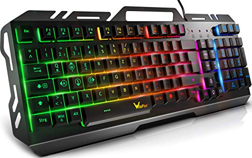 Gaming Tastatur, WisFox Bunte Rainbow LED Hintergrundbeleuchtete Gamer Keyboard, Ultra Sünn leise Ganzmetall...