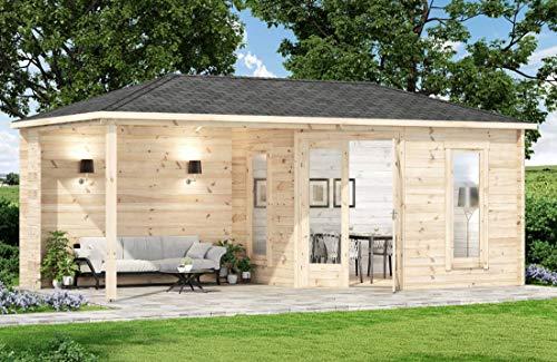 Alpholz 5-Eck Gartenhaus Liwa-28 aus Massiv-Holz | Gerätehaus mit 28 mm Wandstärke | Garten Holzhaus...