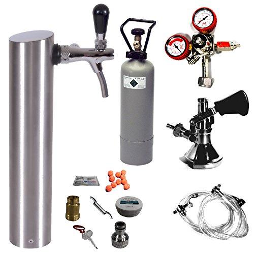 GDW Zapfgarnitur groß mit Flachkeg (A) Edelstahl Schanksäule,Co², Druckminderer, Schläuche & Reinigung
