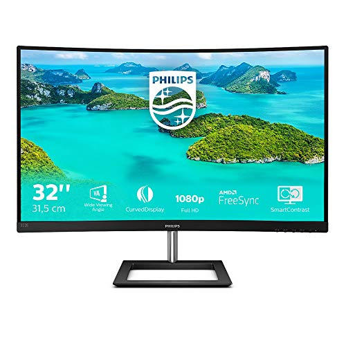Philips 322E1C - 32 Zoll FHD Curved Gaming Monitor, 75 Hz, 4ms, FreeSync (1920x1080, VGA, HDMI, DisplayPort)...