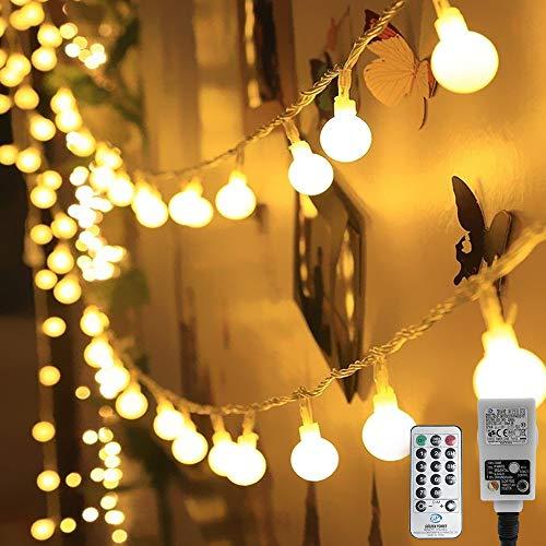 HAUSPROFI 100er LEDS Kugel Lichterkette 10M Dimmbar, Globe Lichterkette mit EU Stecker für Innen und Außen,...