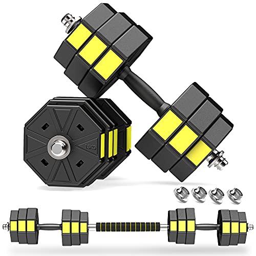 PANMAX Verstellbares Hanteln Langhanteln Gewichte Set, 3IN1 Kurzhanteln Hantelset mit Solide Hantelgriffen Bis...