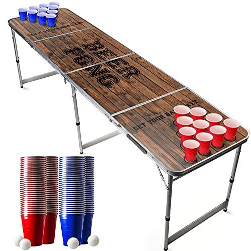 Offizieller Old School Beer Pong Tisch Set | Full Beer Pong Pack | Inkl. 1 Beer Pong Tisch + 120 53cl Becher...