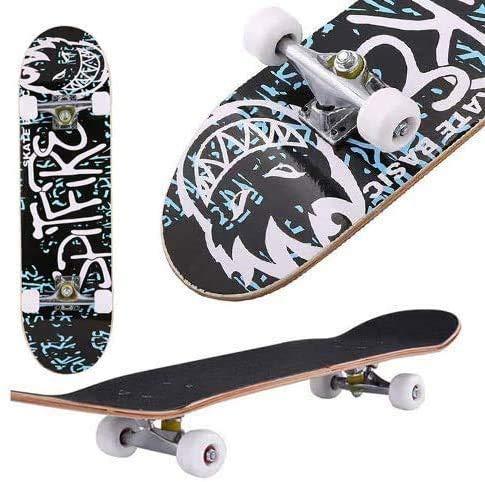 Oppikle Skateboard Komplettboard Mit ABEC-9 Kugellager Und 9-Lagigem Ahornholz 95A Rollenhärte Funboard FÜR...
