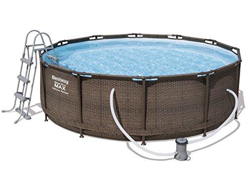 Bestway Steel Pro Max Frame Pool Komplettset Deluxe, rund, Rattan-Optik, 366 x 100 cm
