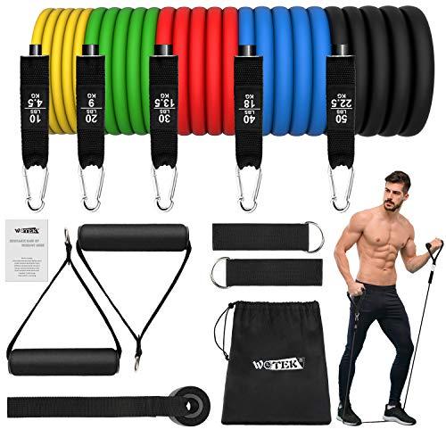 Resistance Bands Fitnessbänder Set Widerstandsbänder - Expander Tubes Rubber Bands mit 5 Fitness Bänder,...