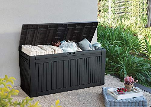 Koll Living Auflagenbox/Kissenbox 270 Liter Farbe : Graphit l 100% Wasserdicht l mit Belüftung dadurch kein...