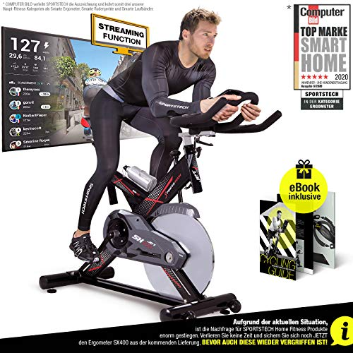 Sportstech Profi Indoor Cycle SX400 – Deutsche Qualitätsmarke- mit Video Events & Multiplayer App, 22KG...