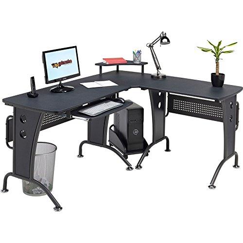 Piranha Großer Computerecktisch in grafitschwarz für das Home Office PC21g