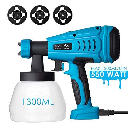 Tilswall Farbsprühsystem 550W Elektrisches Farbspritzgerät mit 1300ML Behälter, einstellbare...