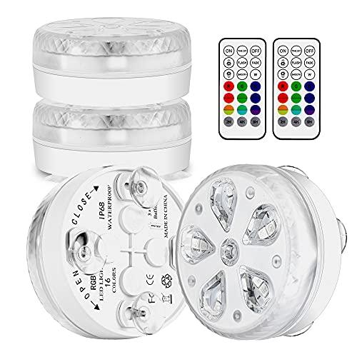Poolbeleuchtung Unterwasser LED Licht Wasserdichte mit RF Fernbedienung, Timer, RGB 16 LEDs, Saugnapf und...