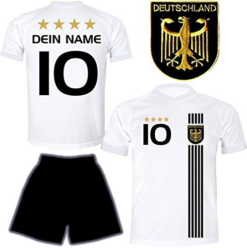 DE FANSHOP Deutschland Trikot mit Hose & GRATIS Wunschname + Nummer #D5 2021 2022 EM/WM Weiss - Geschenk für...