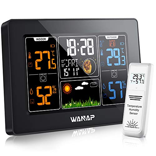 Wanap Weather Station Wetterstation Funk mit Außensensor, Digitales Wetterstation Innen Außen RCC...
