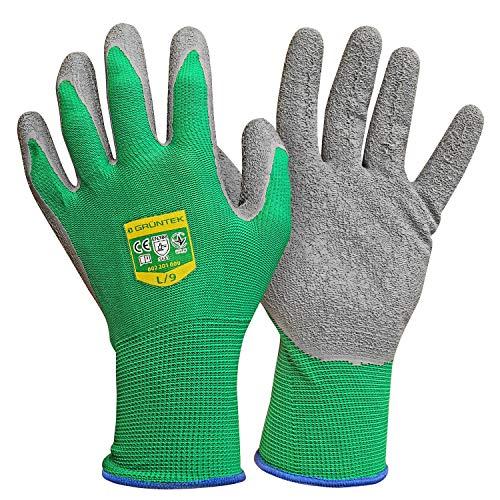 GRÜNTEK 5 Paar Gartenhandschuhe aus Polyesterfaser mit Latexbeschichtung, Gr. L/9, geeignet für den privaten...